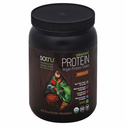 SoTru Organic Vegan Chocolate Protein Shake Powder Perspective: front
