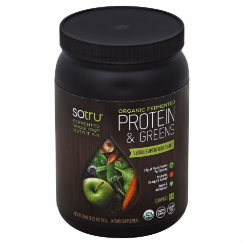 SoTru Organic Fermented Protein & Greens Dietary Supplement Perspective: front