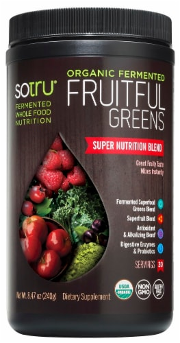 Sotru Organic Fermented Fruitful Greens Nutrition Blend Perspective: front