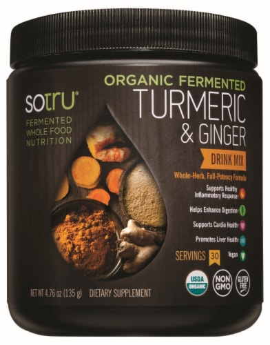 Sotru Organic Fermented Turmeric & Ginger Formula Drink Mix Perspective: front