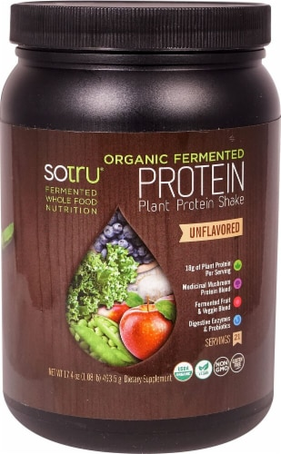 SoTru  Organic Fermented Plant Protein Shake   Unflavored Perspective: front