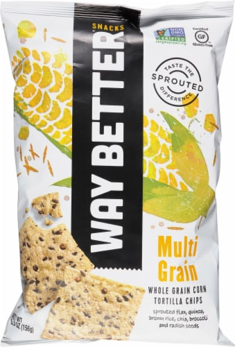 Way Better Snacks Simply Sunny Multi-Grain Tortilla Chips Perspective: front