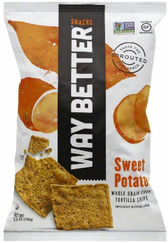 Way Better Spicy Sweet Potato Tortilla Chips Perspective: front
