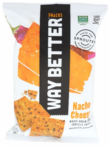 Way Better Snacks Nacho Cheese Tortilla Chips Perspective: front