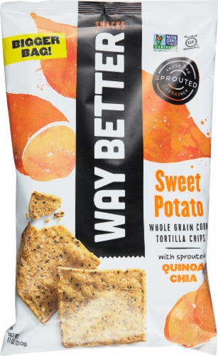 Way Better Snacks  Gluten Free Non-GMO Tortilla Chips Way Bigger Bag   Sweet Potato Perspective: front