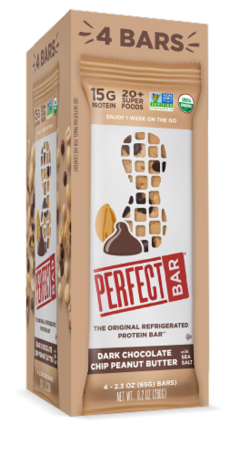 Perfect Bar Dark Chocolate Chip Peanut Butter Bar 4 Count Perspective: front