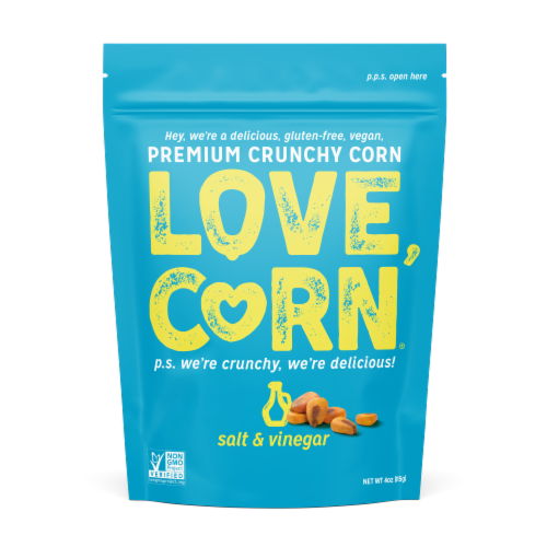 Love,Corn® Gluten Free Salt & Vinegar Premium Crunchy Corn Snack Perspective: front