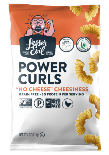 LesserEvil Egg and Cheese Egg White Curls Perspective: front