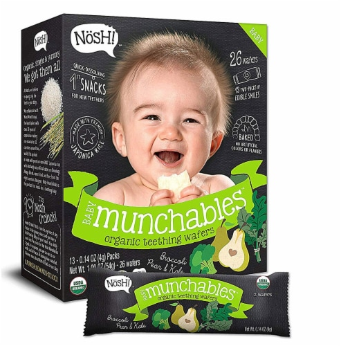 Nosh Baby Munchables Organic Broccoli Pear & Kale Teething Wafers Perspective: front