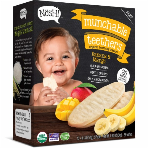 Nosh Banana & Mango Organic Teething Wafers Perspective: front