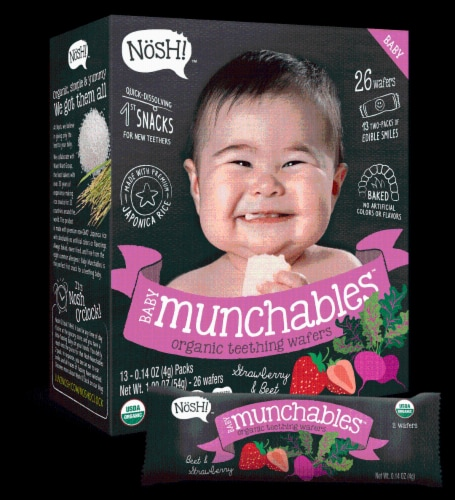 Nosh  Baby Munchables Teething Wafers - Strawberry & Beet Perspective: front
