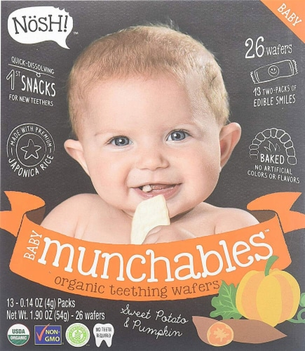 Nosh  Baby Munchables Teething Wafers - Sweet Potato & Pumpkin Perspective: front