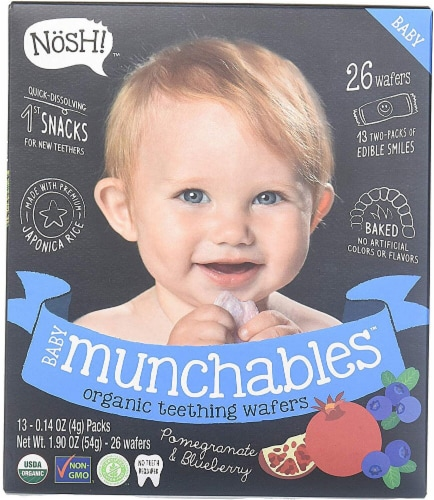 Nosh  Baby Munchables Teething Wafers - Blueberry & Pomegranate Perspective: front