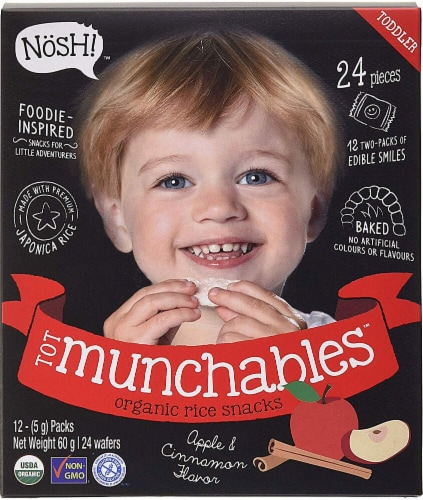 Nosh  Tot Munchables Rice Snacks   Apple & Cinnamon Perspective: front