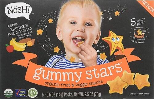 Nosh Gummy Stars Organic Apple Banana & Sweet Potato Fruit & Veggie Snacks 5 Count Perspective: front