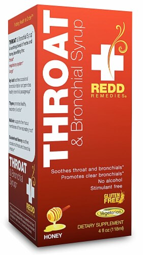Redd Remedies  Throat and Bronchial Syrup   Honey Perspective: front