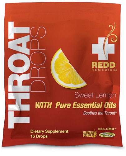 Redd Remedies  Throat Drops   Sweet Lemon Perspective: front