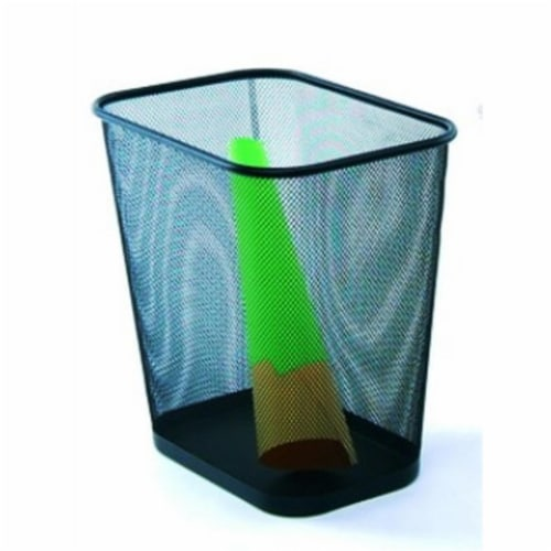 YBM Home Black Rectangular Waste Bin 8x12 X 12 Inches Perspective: front
