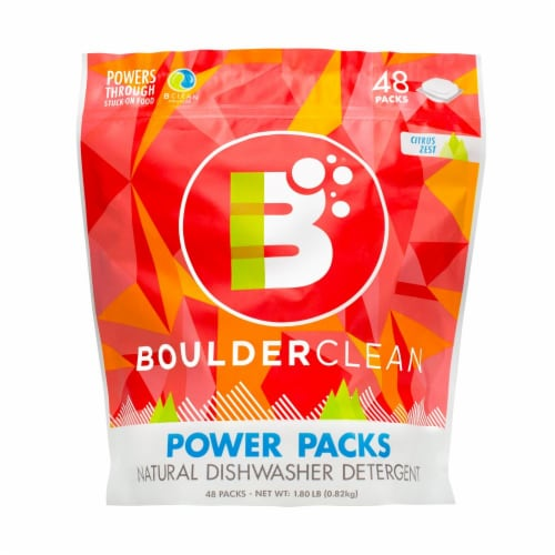 Boulder Clean Dishwasher Power Packs Citrus Zest Perspective: front