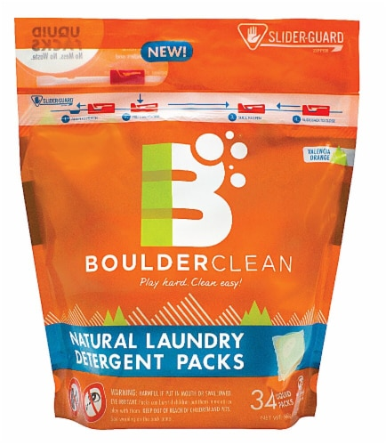 Boulderclean Valencia Orange Natural Laundry Detergent Packs 34 Count Perspective: front
