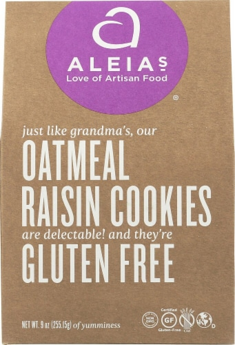 Aleia's  Cookies Gluten Free   Oatmeal Raisin Perspective: front