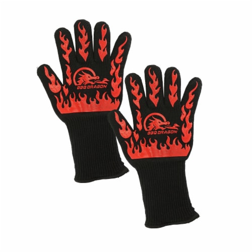 BBQ Dragon Extreme Heat Resistance Gloves - Black Perspective: front