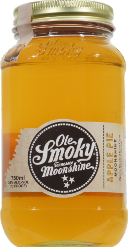 Old Smokey Apple Pie Moonshine - 70 Proof Perspective: front