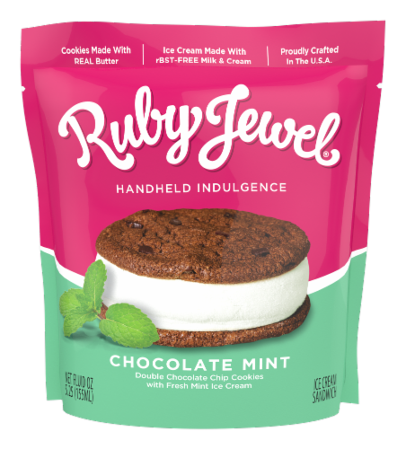 Ruby Jewel Dark Chocolate Cookie + Fresh Mint Ice Cream Sandwich Perspective: front