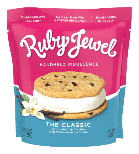 Ruby Jewel Chocolate Chip Cookie + Vanilla Bean Ice Cream Sandwich Perspective: front