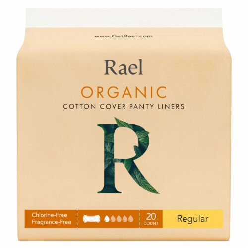Rael Organic Regular Cotton Cover Panty Liners 20 Count Perspective: front
