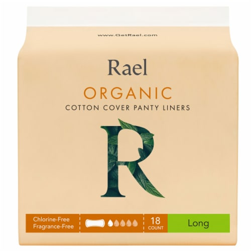 Rael Organic Long Cotton Cover Panty Liners 18 Count Perspective: front