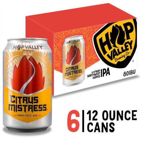 Hop Valley Citrus Mistress IPA Beer 6 Cans Perspective: front
