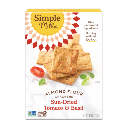Simple Mills Sun-Dried Tomato & Basil Almond Flour Crackers Perspective: front