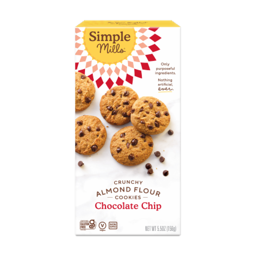 Simple Mills Crunchy Chocolate Chip Cookies Perspective: front