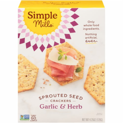 Simple Mills Garlic & Herb Sprouted Seed Crackers Perspective: front
