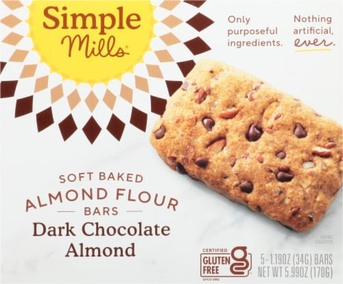 Simple Mills Soft-Baked Dark Chocolate Almond Flour Bars Perspective: front