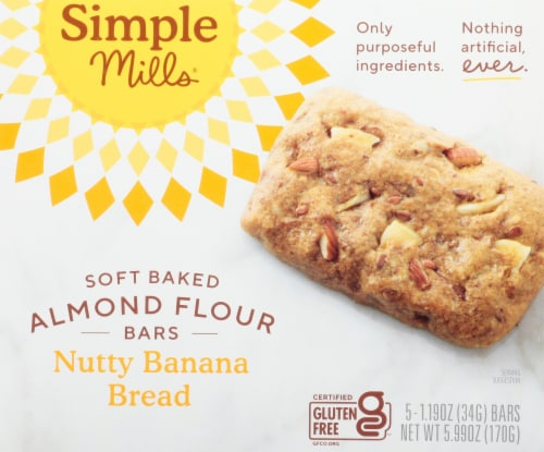 Simple Mills Soft Baked Nutty Banana Bread Almond Flour Bars Perspective: front