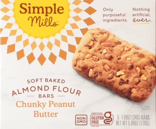 Simple Mills® Chunky Peanut Butter Almond Flour Bars Perspective: front