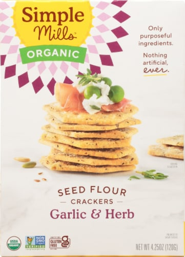 Simple Mills Organic Seed Flour Crackers - Garlic & Herb Perspective: front