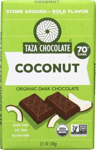 Taza Chocolate Coconut Organic Dark Chocolate Bar Perspective: front