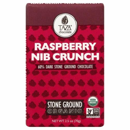 Taza Chocolate Stone Ground  Raspberry Nib Crunch Dark Chocolate Bar Perspective: front