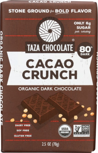 Taza Chocolate Cacao Crunch Organic Dark Chocolate Bar Perspective: front