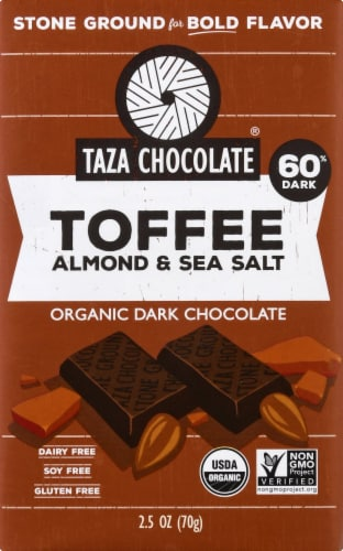 Taza Chocolate Organic Toffee Almond & Sea Salt Ground Chocolate Bar Perspective: front