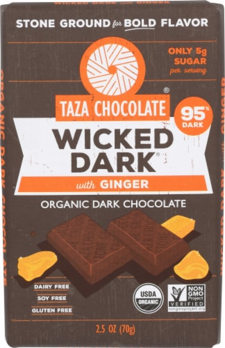 Taza Chocolate Wicked Dark with Ginger Organic Dark Chocolate Perspective: front