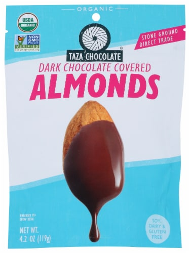 Taza Chocolate Dark Chocolate Covered Almonds Perspective: front