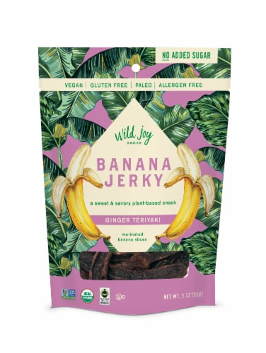 Wild Joy Banana Jerky Ginger Teriyaki Marinated Banana Slices Perspective: front