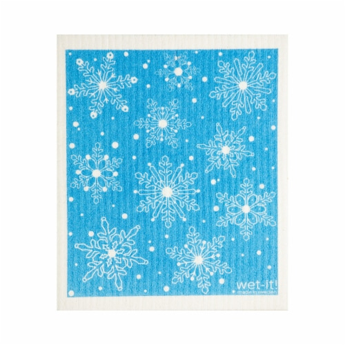 Wet-It Cellulose & Cotton Snow Flakes Dish Cloth - Blue/White Perspective: front