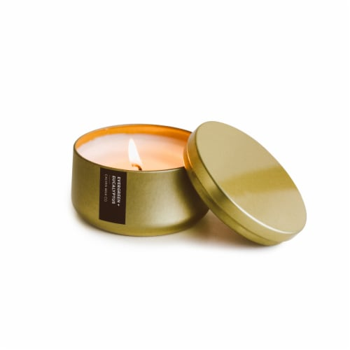 Calyan Wax Co. Evergreen + Eucalyptus Metal Tin Soy Candle Perspective: front