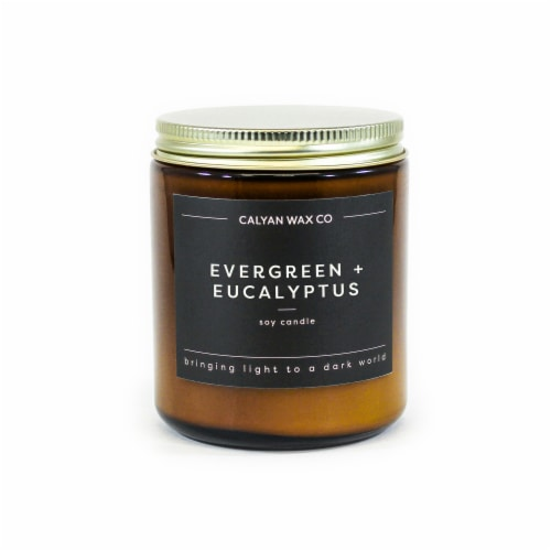 Calyan Wax Co.  Evergreen + Eucalyptus Amber Jar Soy Candle - White Perspective: front