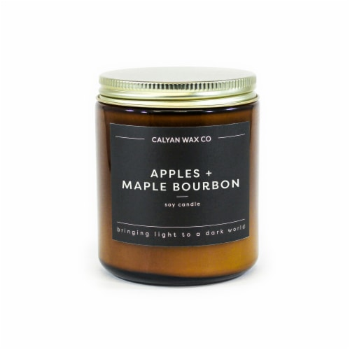 Calyan Wax Co. Apples + Maple Bourbon Amber Jar Soy Candle - White Perspective: front